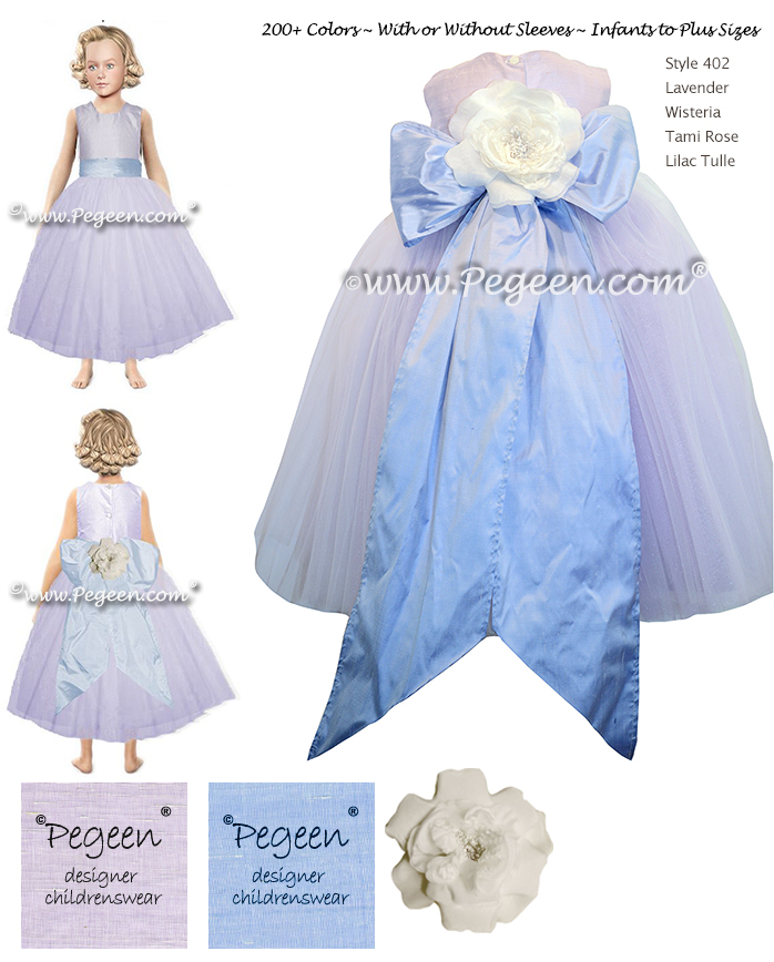 Lavender Flower Girl Dress By Pegeen Style 402 With A Ruffled Sash