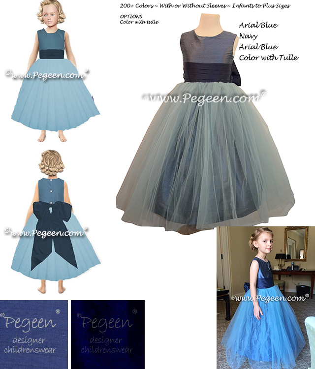 5e821ca1424 Flower Girl Dress Style 356 with Arial Blue Bodice and Skirt and a Navy  Blue Sashand