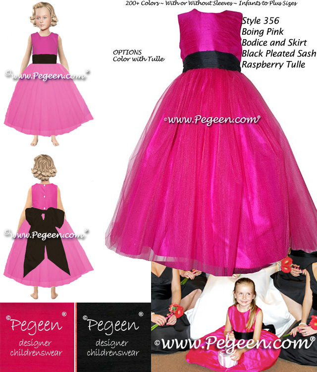 Flower Girl Dress Style 356 With A Silk Boing Pink Bodice And Skirt