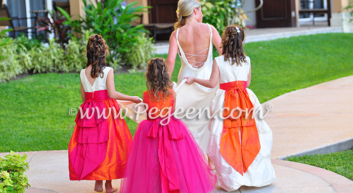 Flower Girl Dresses Style 402 / Island Wedding of the Year 2014 in Mango Orange and Hot Boing Pink