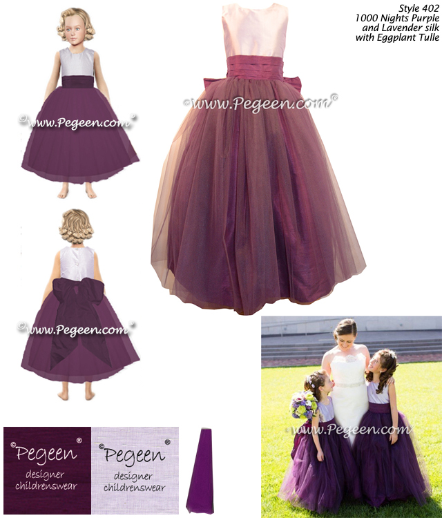 Custom flower girl dresses in eggplant and lavender silk and tulle