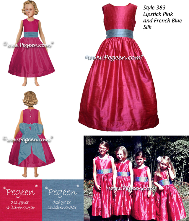 Lipstick Pink And Hydrangea Blue Silk Flower Girl Dresses