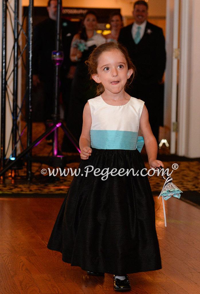 Black and Tiffany Blue silk flower girl dress