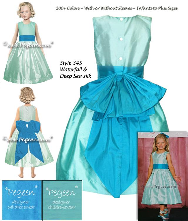Tiffany Blue and Tahiti Blue Silk Flower Girl Dress
