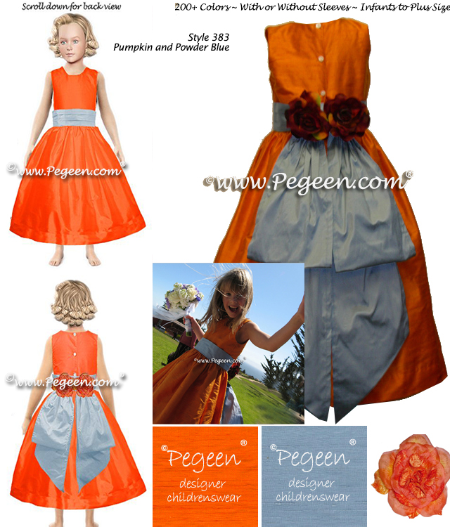 Pegeen Flower Girl Dress Style 383 in Tangerine Orange and Powder Blue Silk