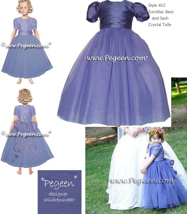 Periwinkle purple silk flower girl dress for english styled wedding 402 euro lilac flower girl dresses mightylinksfo