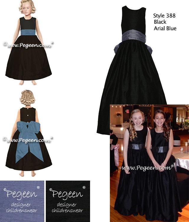 Black and Arial Blue - Pegeen.com Jr Bridesmaids Dress Style 388