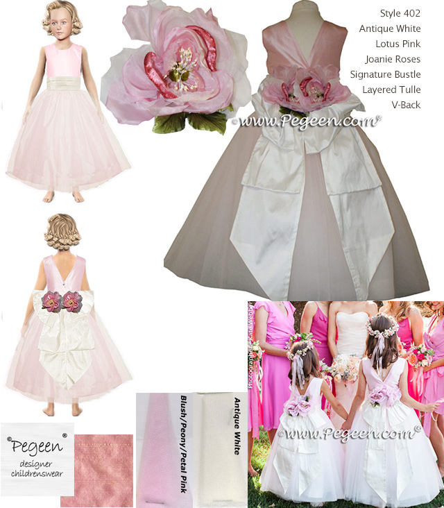 Lotus Pink and White Silk and Tulle Flower Girl Dress