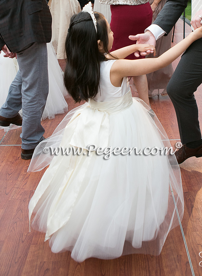 Style 402 was used for this flower girl in ivory and bisque