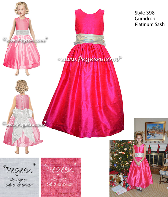 Gumdrop Pink and Platinum Gray Silk Flower Girl Dress