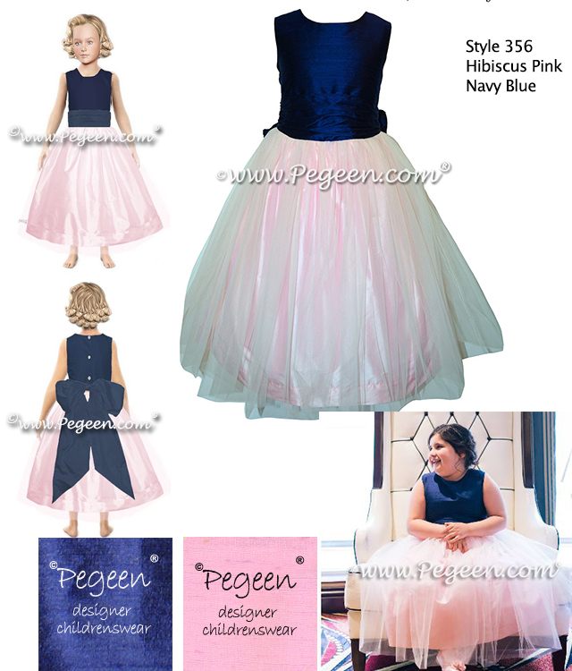 Pink-navy-tulle flower girl dress