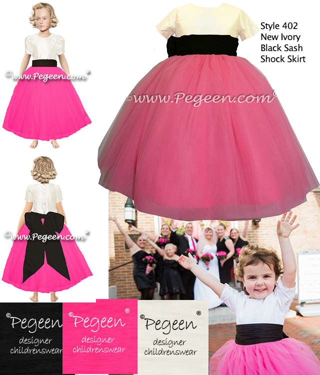 Hot pink and black silk flower girl dresses