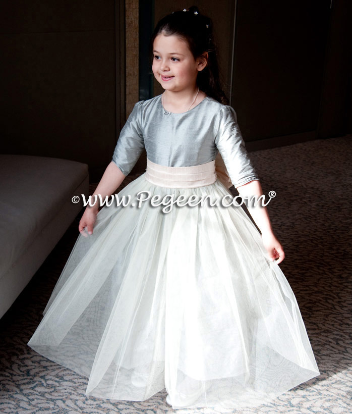 Morning gray and blush pink silk flower girl dress from Pegeen Classics