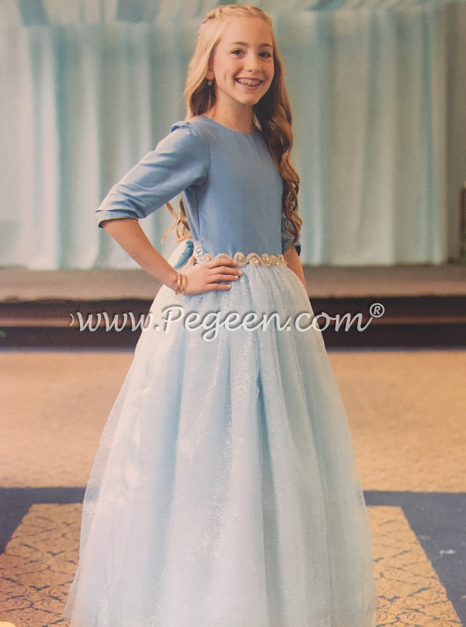 Jr Bridesmaids Dress in silver and blue wedding, style 931, jewish wedding, 3/4 sleeves