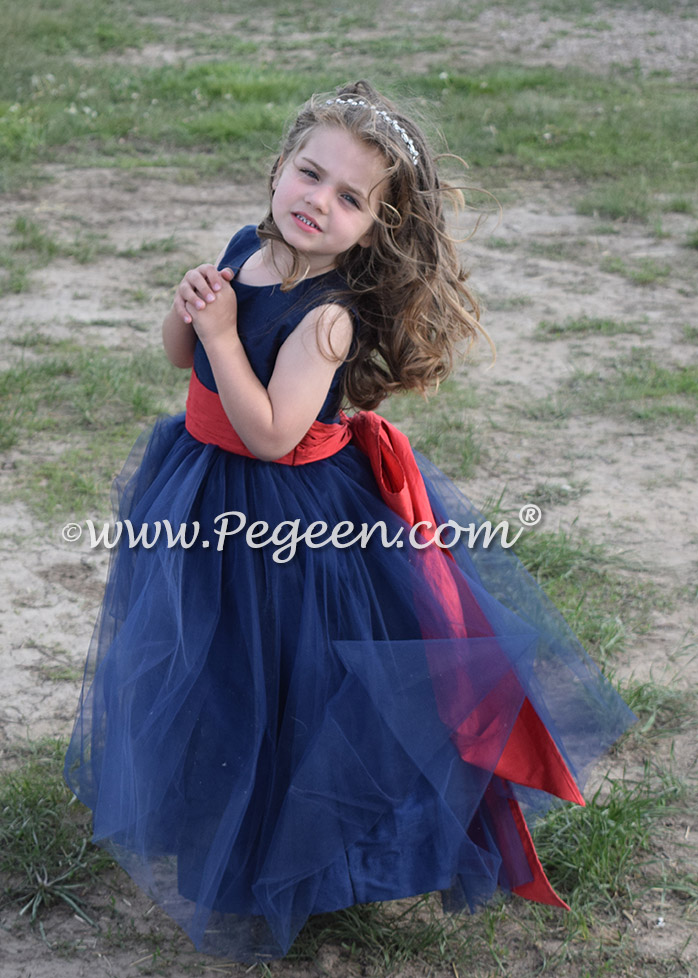 Navy and Brick Red Tulle and Silk flower girl dresses - Style 356 | Pegeen